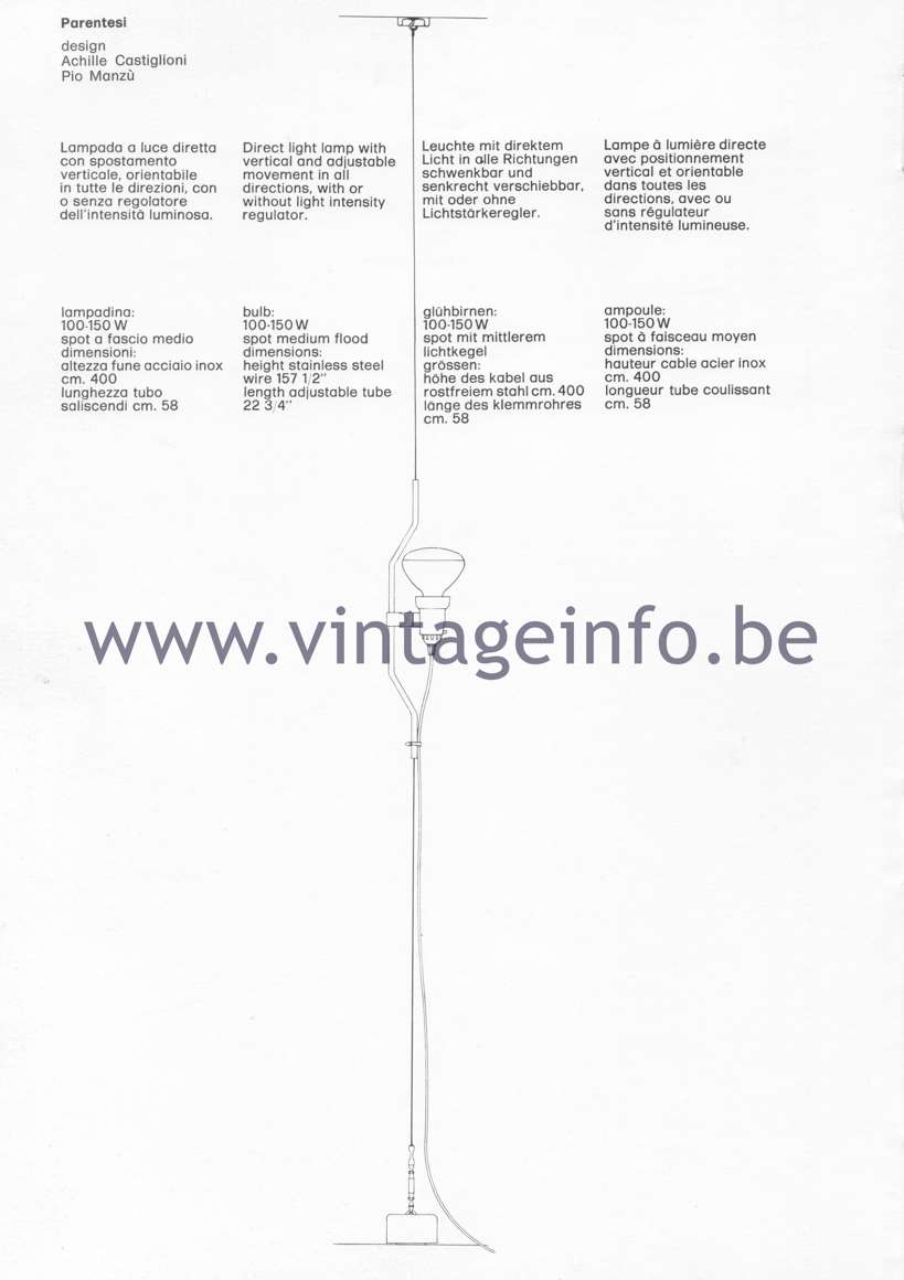 Flos Catalogue 1980 - Parentesi lamp, design Achille Castiglloni & Pio Manzu