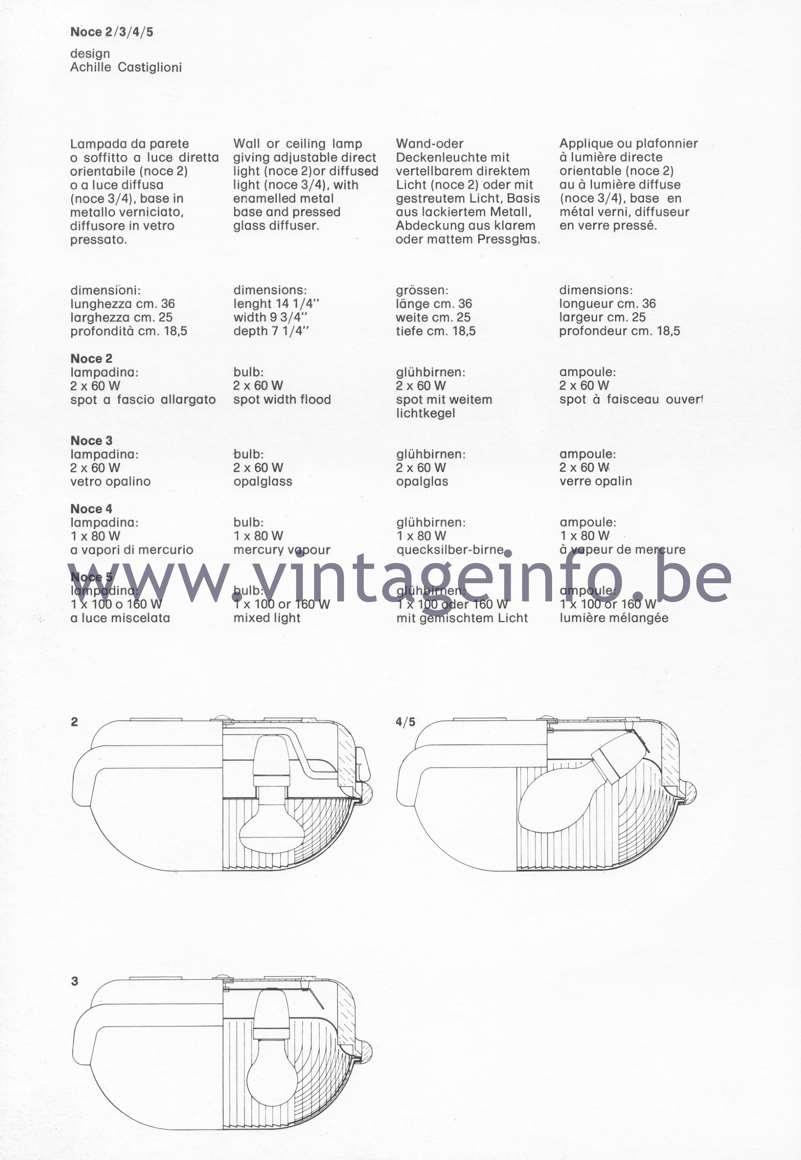 Flos Catalogue 1980 – Noce 2/3/4/5 lamps, design Achille Castiglioni