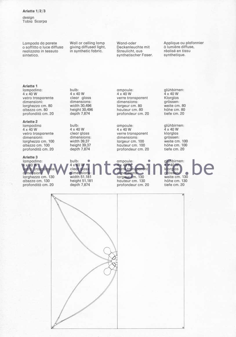 Flos Catalogue 1980 – Ariette 1/2/3, design Tobia Scarpa