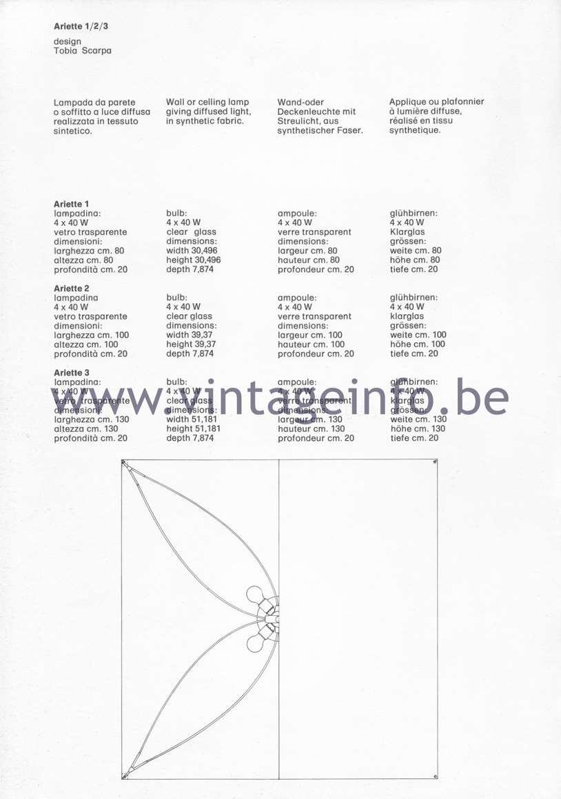 Flos Catalogue 1980 – Ariette 1/2/3, design Tobia Scarpa