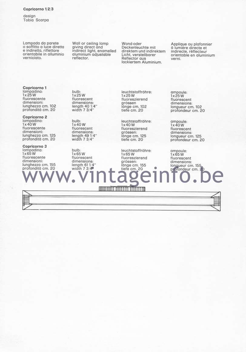 Flos Catalogue 1980 – Copricorno 1 2 3, design Tobia Scarpa