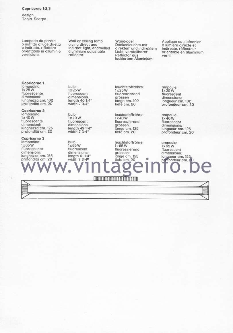 Flos Catalogue 1980 – Copricorno 1 2 3, design Tobia Scarpa
