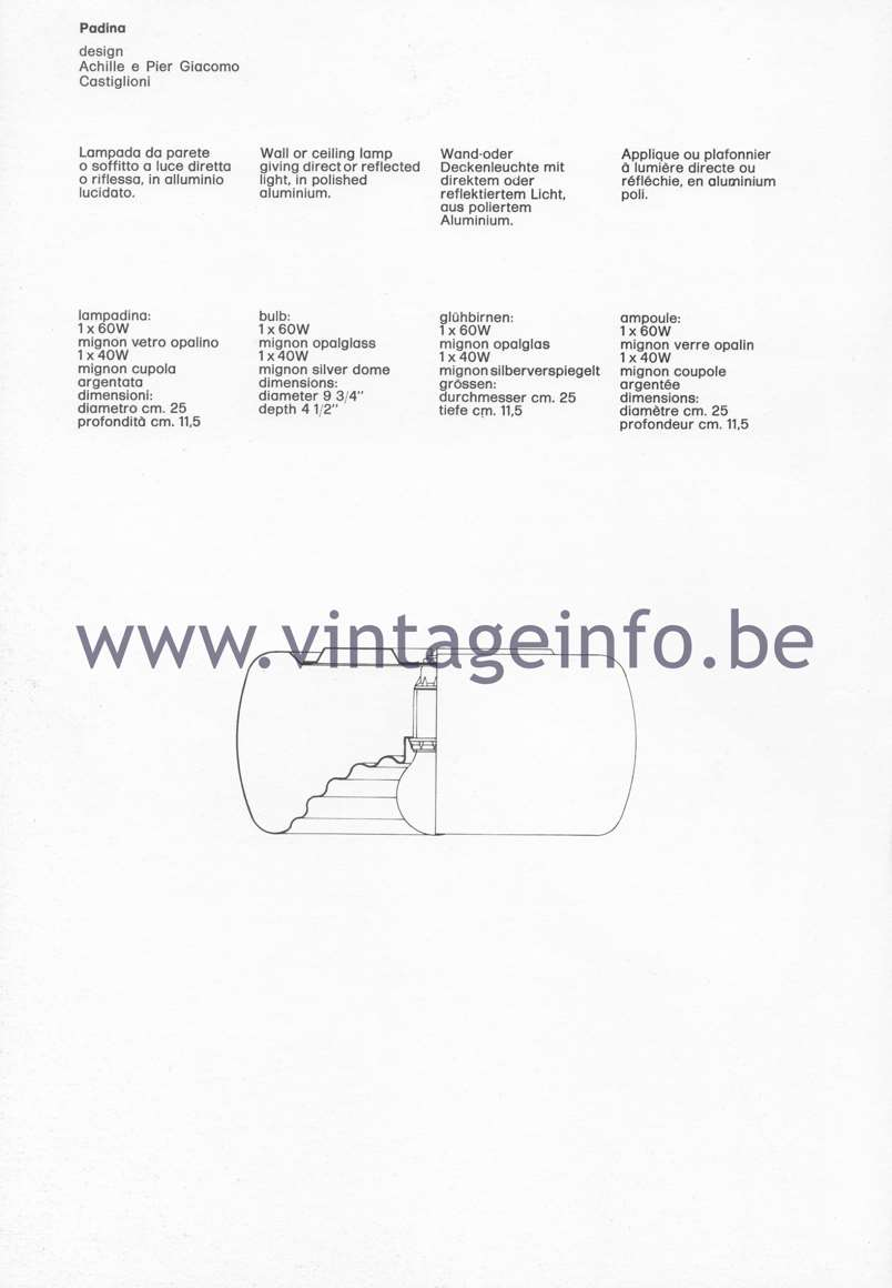 Flos Catalogue 1980 – Padina, design Achille & Pier Giacomo Castiglioni