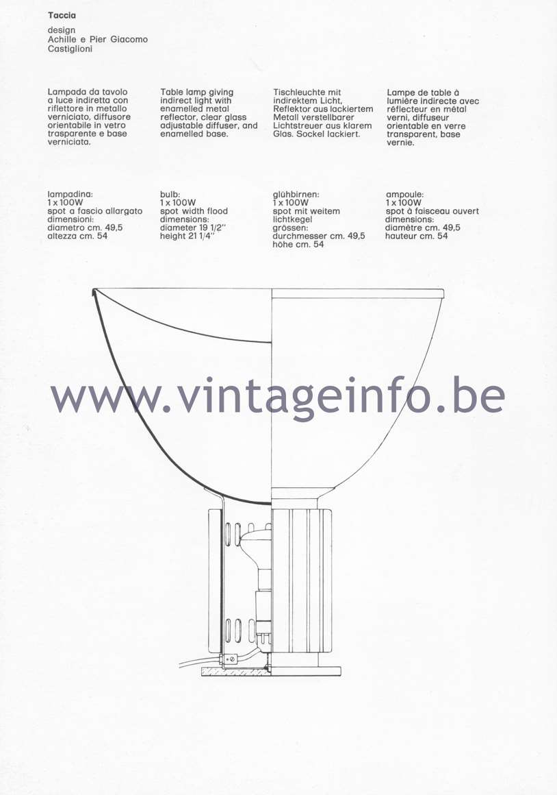 Flos Catalogue 1980 – Taccia, design Achille & Pier Giacomo Castiglioni