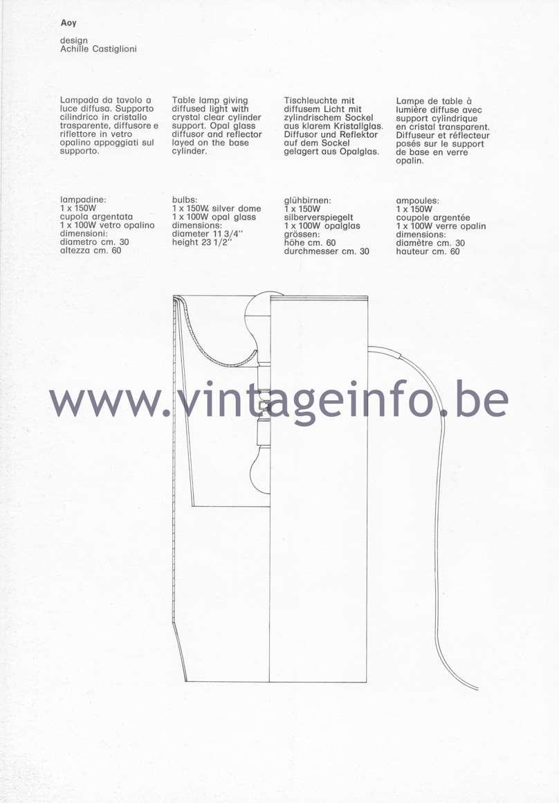 Flos Catalogue 1980 – Aoy, design Achille Castiglioni