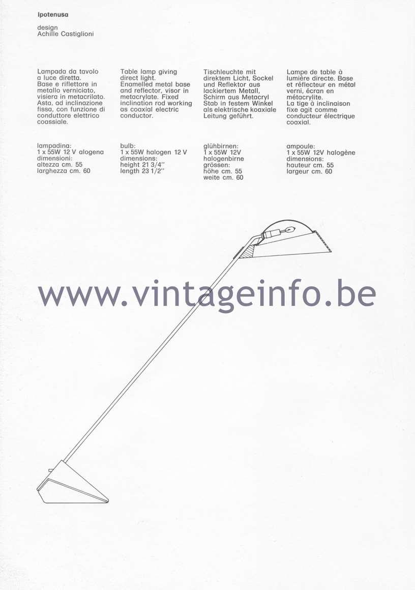 Flos Catalogue 1980 – Ipotenusa, design Achille Castiglioni