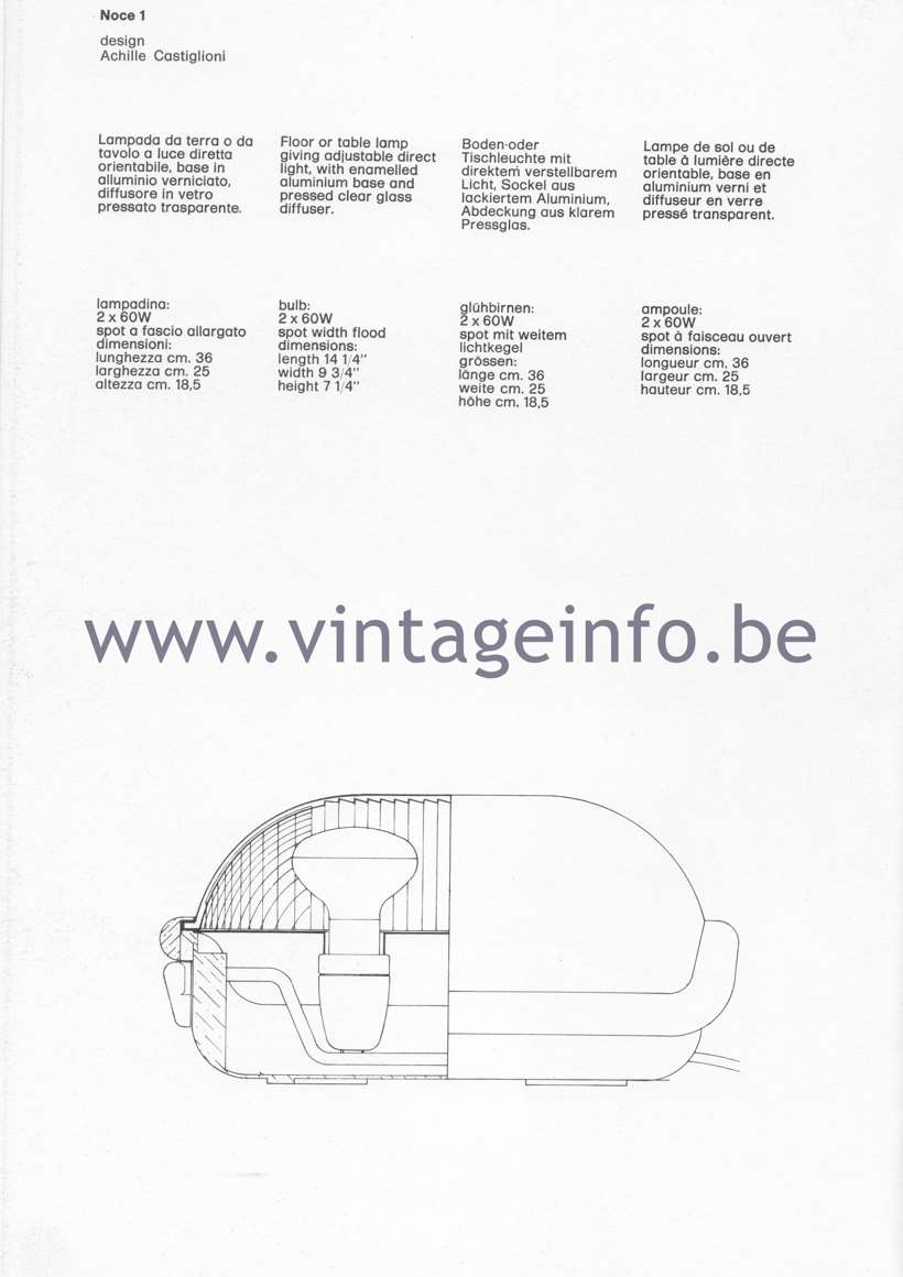 Flos Catalogue 1980 – Noce 1, design Achille Castiglloni