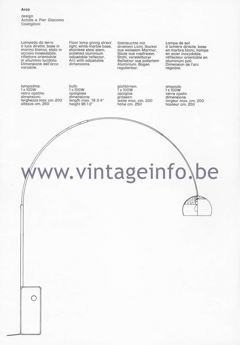 Flos Catalogue 1980 – Arco, design Achillle & Pier Giacomo Castiglioni