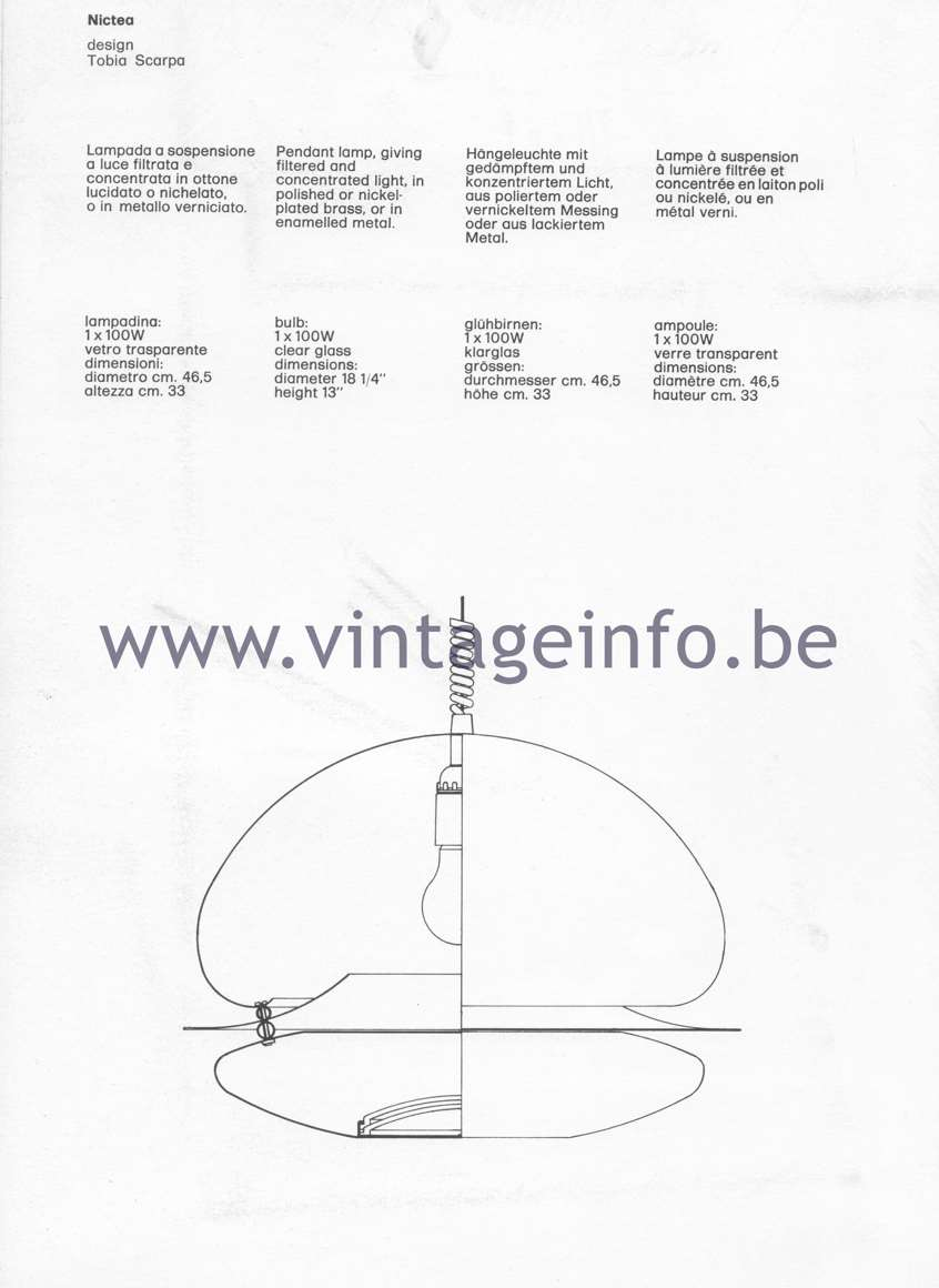 Flos Catalogue 1980, Nictea pendant light, design Tobia Scarpa