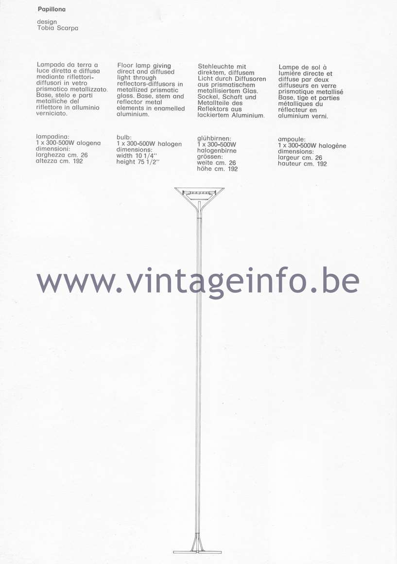 Flos Catalogue 1980 – Papillona, design Tobia Scarpa