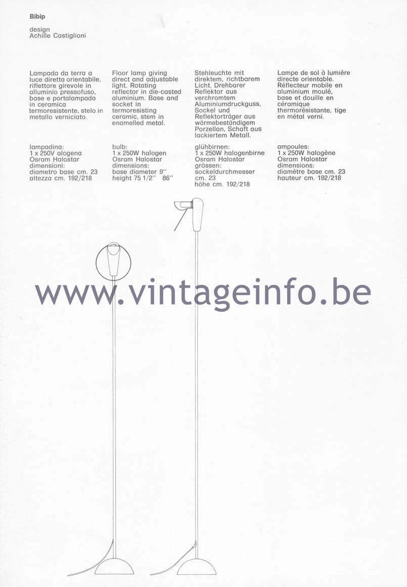 Flos Catalogue 1980 – Bibip, design Achille Castiglioni