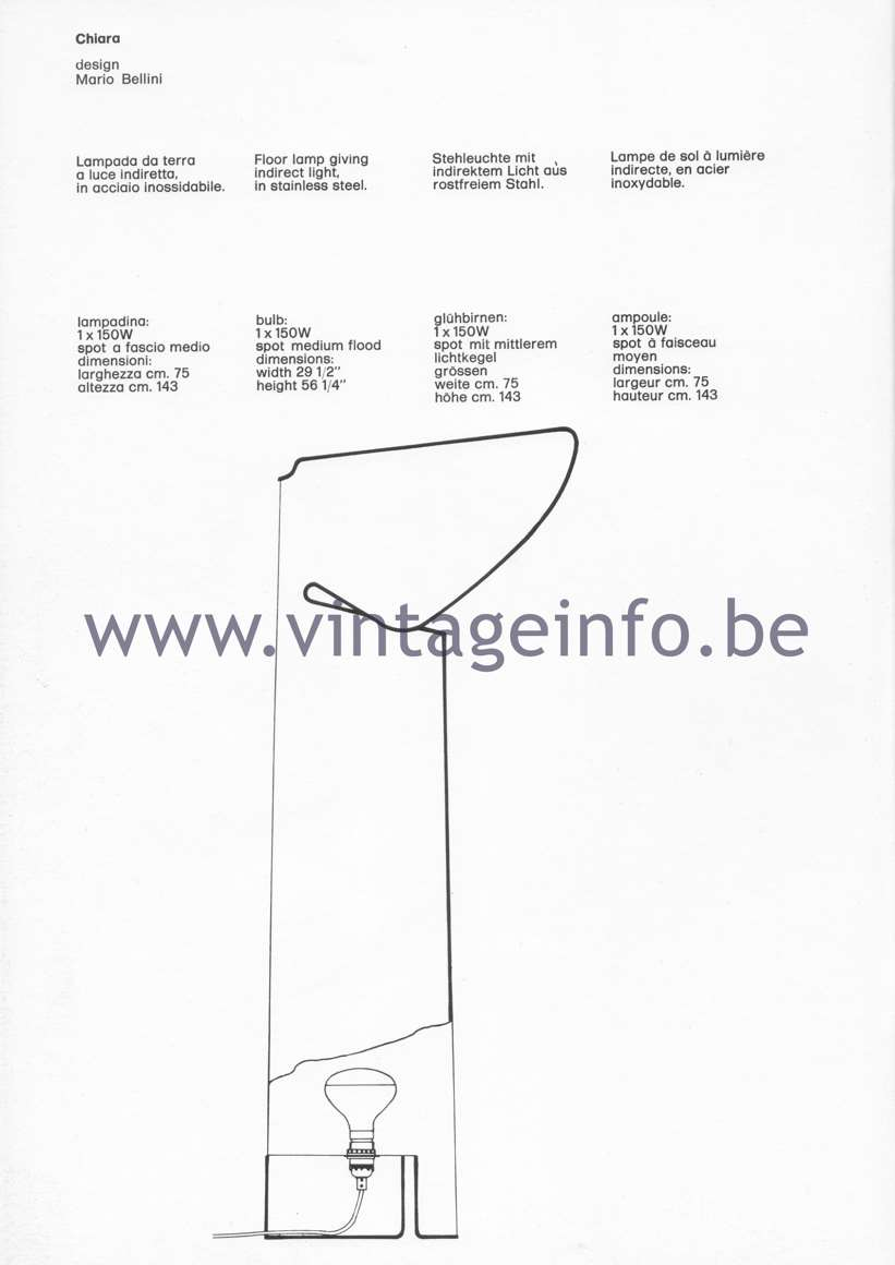Flos Catalogue 1980 – Chiara, design Mario Bellini