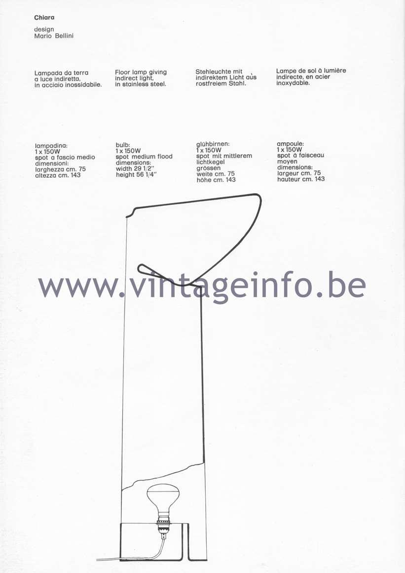 Flos Catalogue 1980 – Chiara, design Mario Bellini