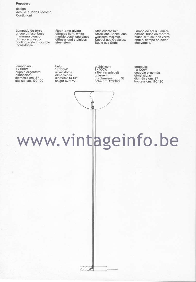 Flos Catalogue 1980 – Papavero, design Achille & Pier Giacomo Castiglioni