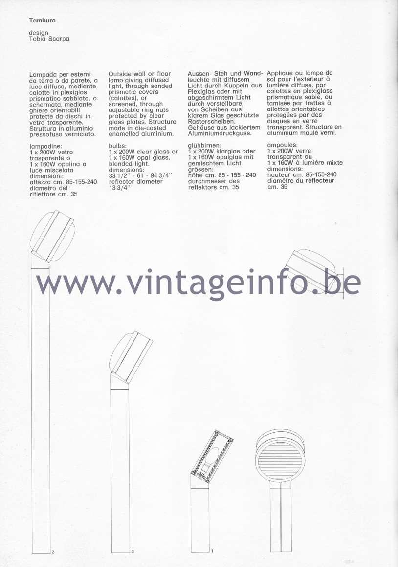 Flos Catalogue 1980 – Tamburo, design Tobia Scarpa