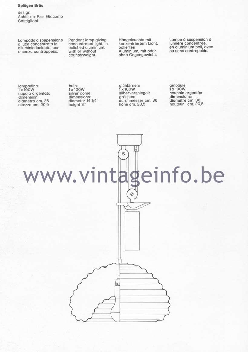Splugen Bräu pendant light, design Achille & Pier Giacomo Castiglioni