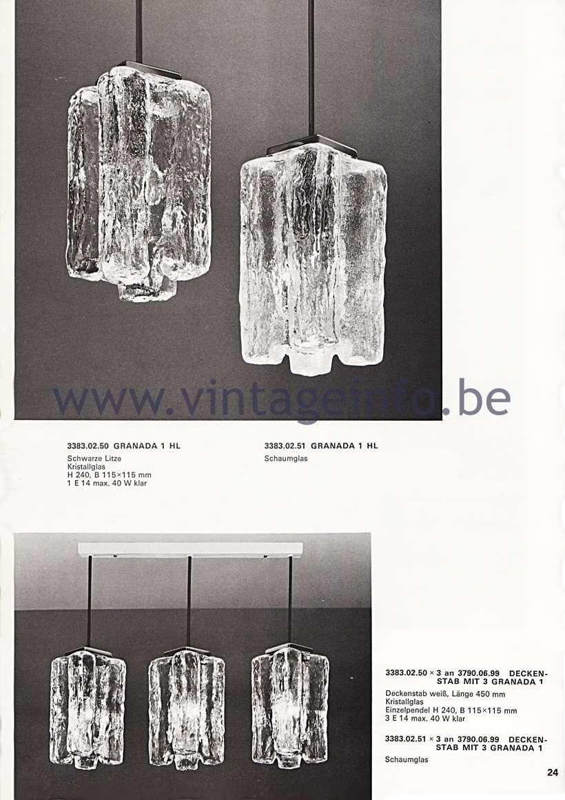 Kalmar Franken KG Catalogue 1974 - Wiener leuchten aus hand gearbeitetem glas – Viennese lamps made of handmade glass