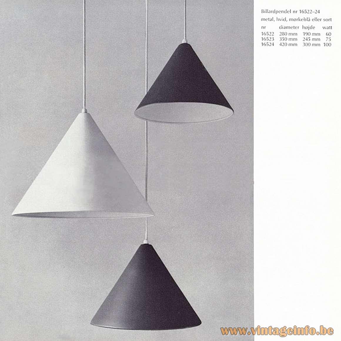 Poulsen Billiard Pendant Lights - Louis Poulsen catalogue 1967
