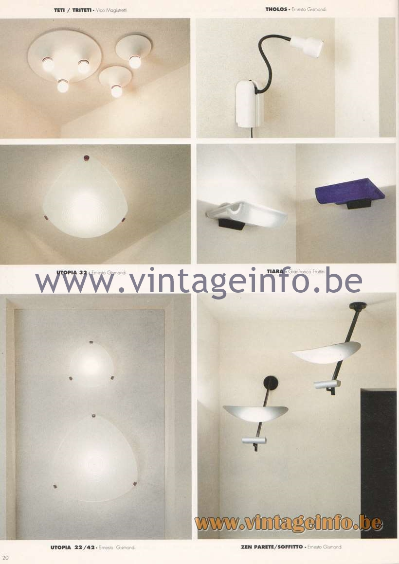 Artemide Catalogue 1992 – Wall Lamps & Ceiling Lamps