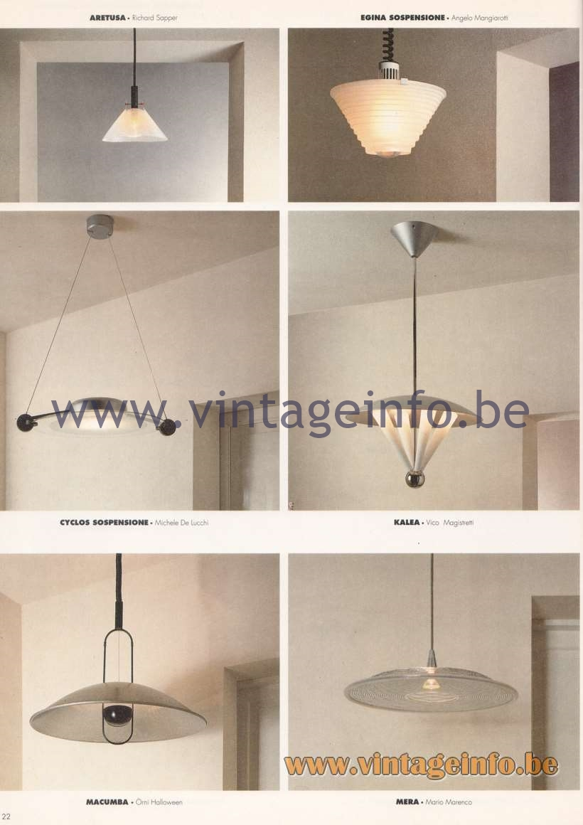Artemide Catalogue 1992 – Suspension Lamps