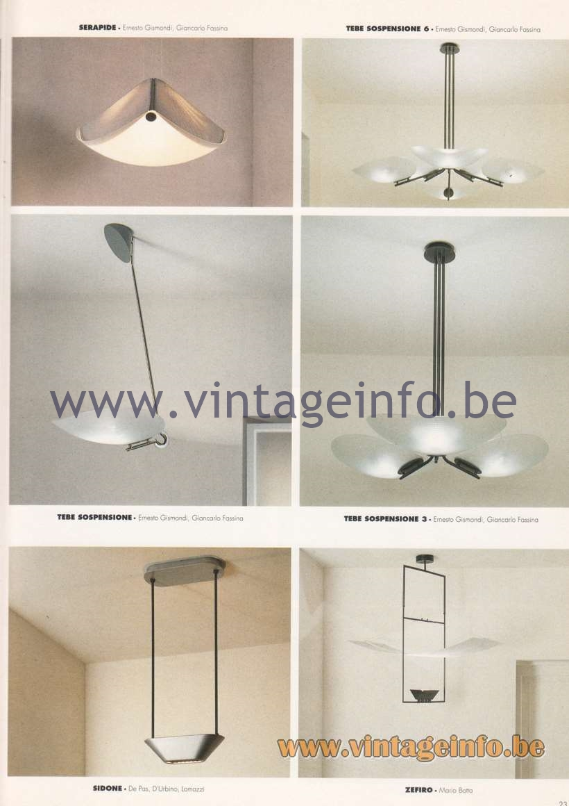 Artemide Catalogue 1992 – Suspension Lamps & Chandeliers