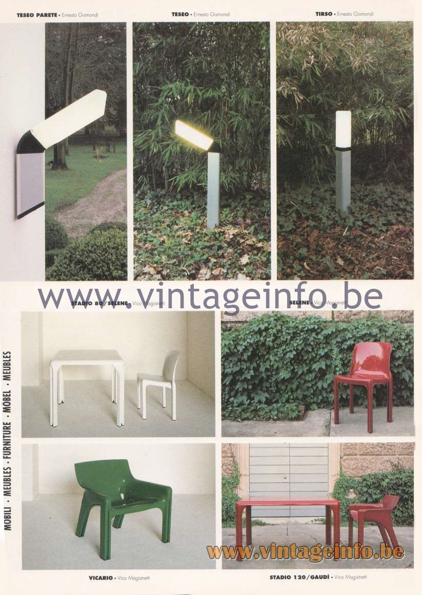 Artemide Catalogue 1992 – Garden & Outdoor Lamps. Outdoor Chairs & Tables
