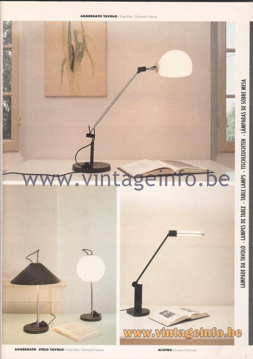 Artemide Catalogue 1992 - Table Lamps - Aggregato Tavolo, Aggregato Stelo Tavolo, Alistro