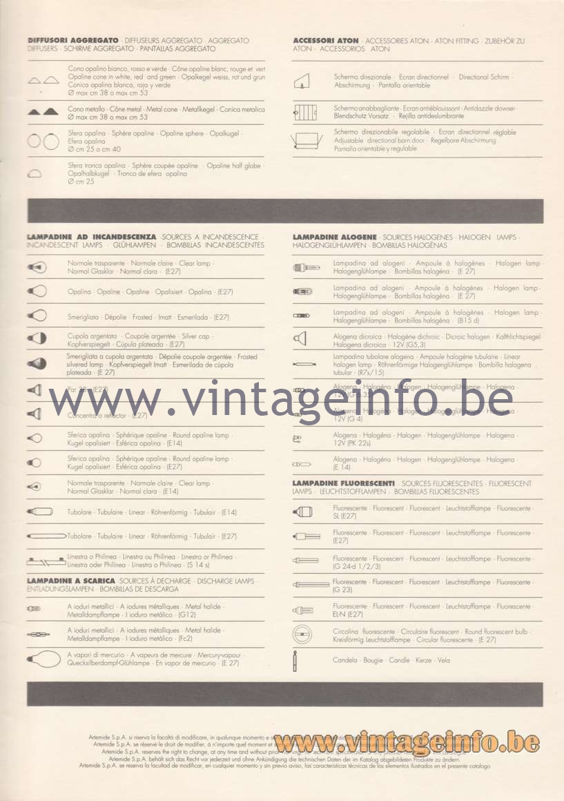 Artemide Catalogue 1992 - Technical Details - Light Bulbs