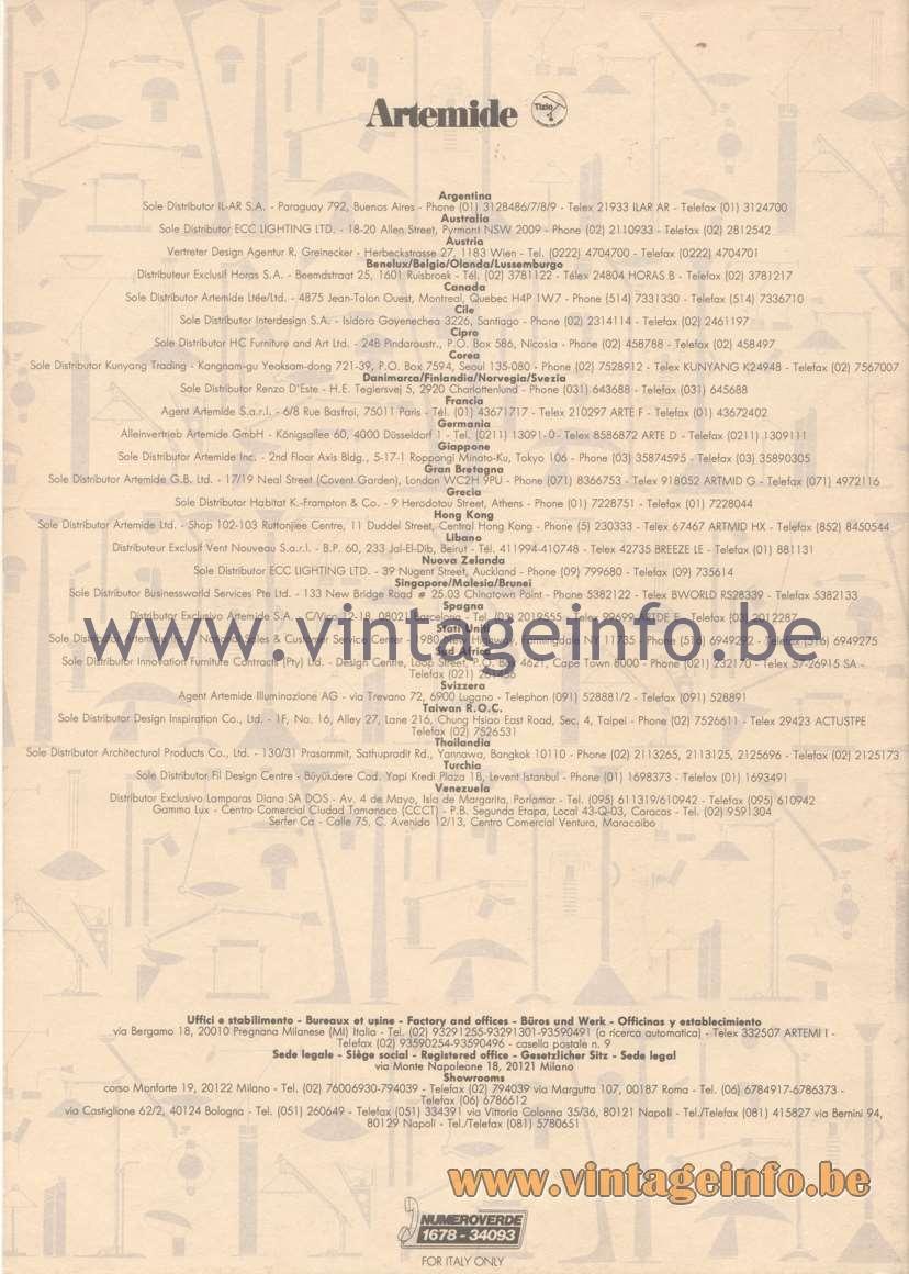 Artemide Catalogue 1992 - Technical Details - Retailers, Factory, Offices, Dealers