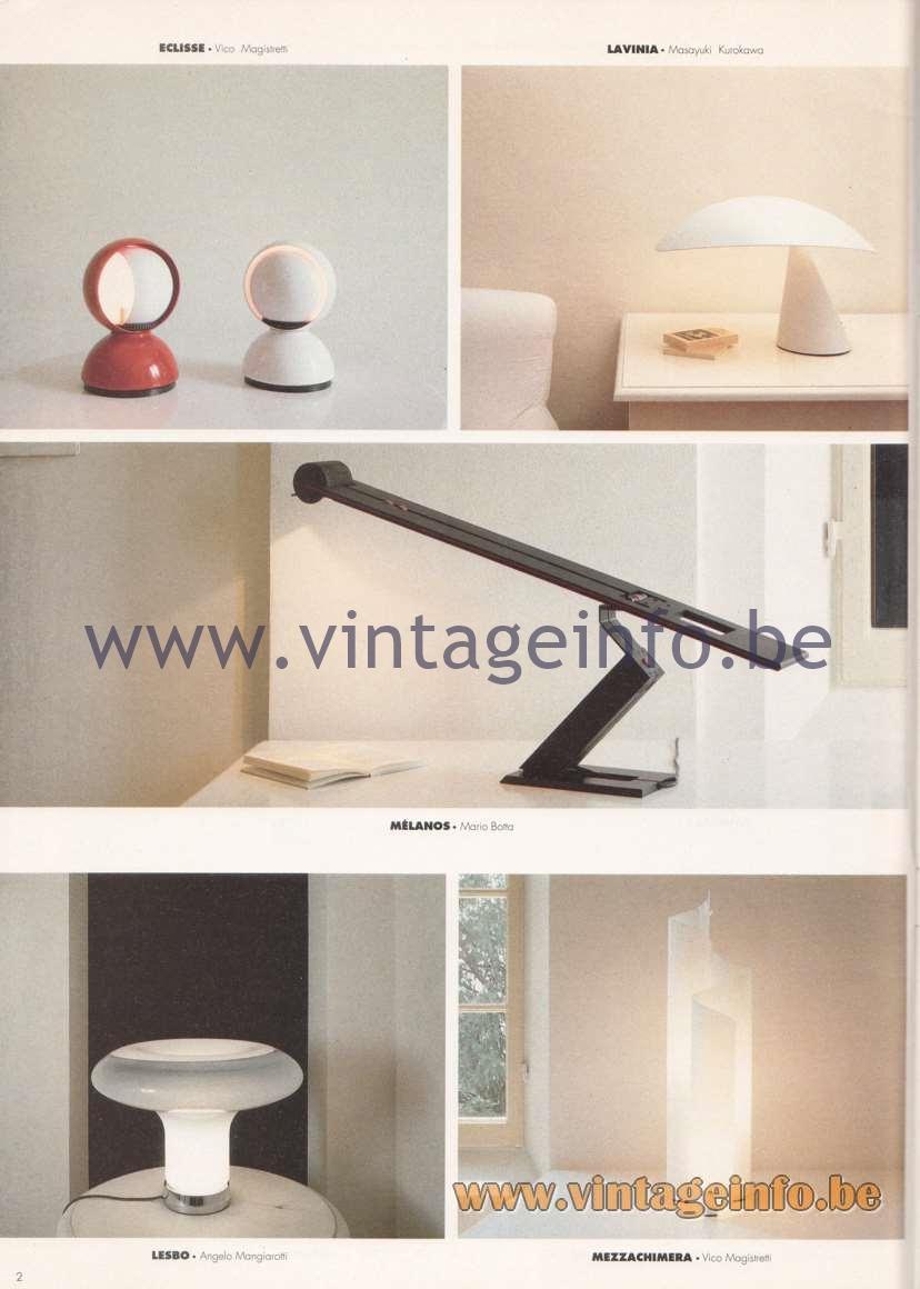 Artemide Catalogue 1992 - Table Lamps