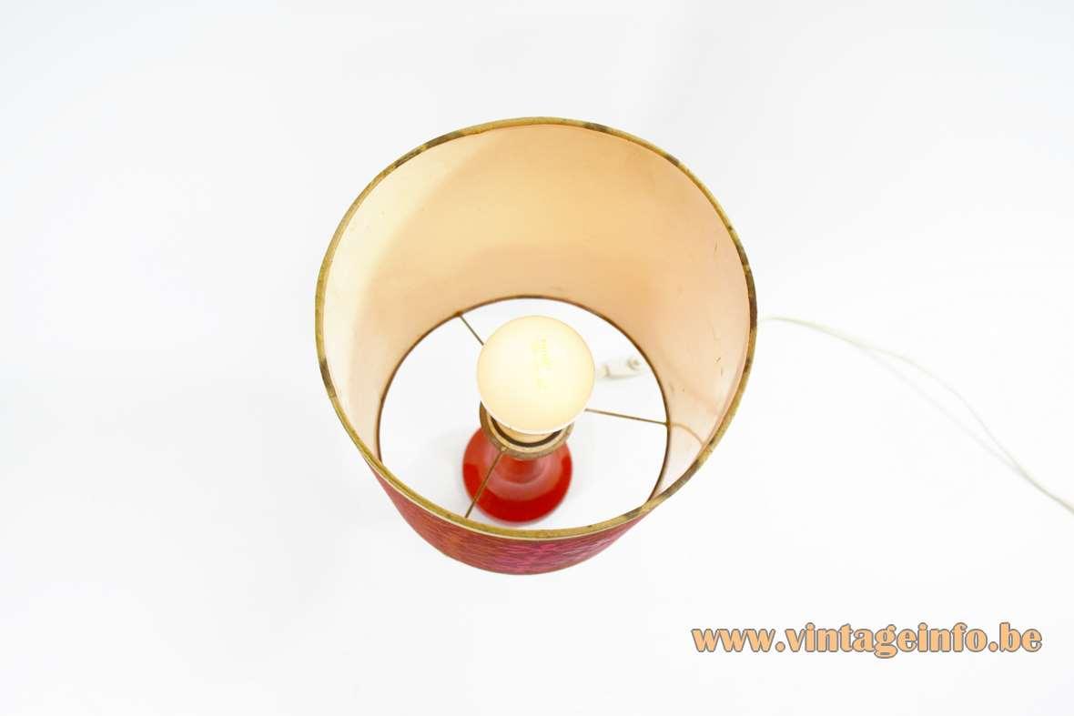 1960s Red Ceramic Table Lamp