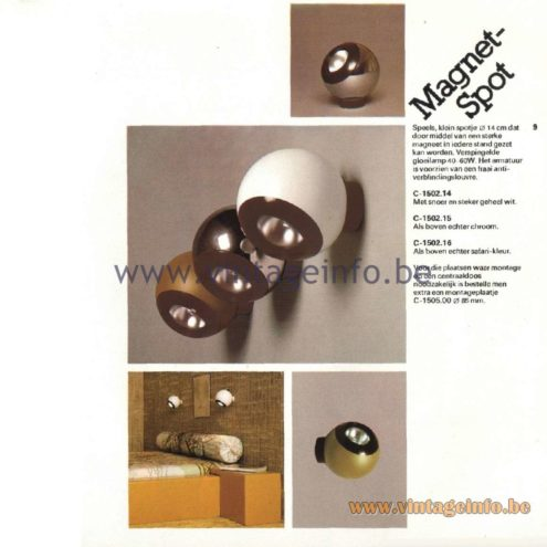 Raak Catalogue 11, 1978 - Magnet-Spot Wall Lamp