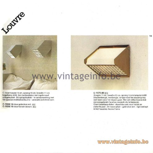 Raak Catalogue 11, 1978 - Louvre Wall Lamp