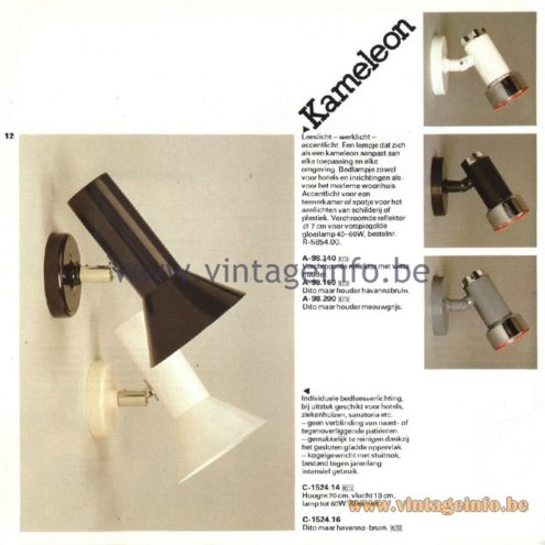 Raak Catalogue 11, 1978 - Kameleon Wall Lamp