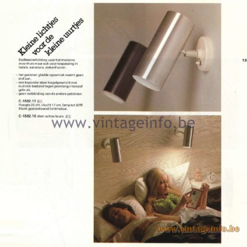 Raak Catalogue 11, 1978 - Raak Wall Lamp C-1582.11, C-1582.16