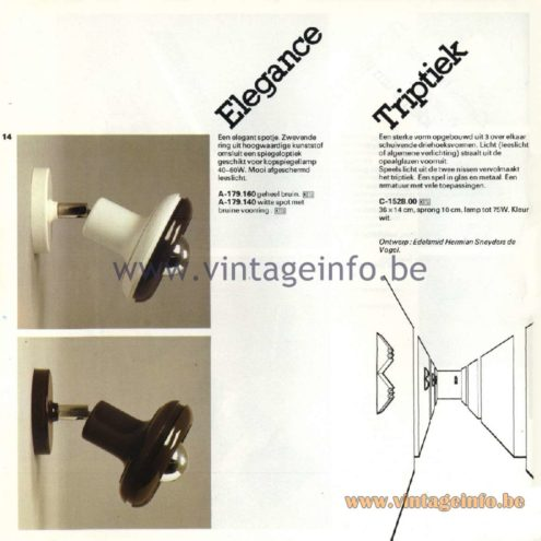 Raak Catalogue 11, 1978 - Elegance & Triptiek Wall Lamp