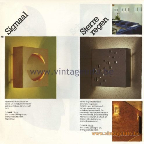 Raak Catalogue 11, 1978 - Signaal and Sterreregen Wall Lamps