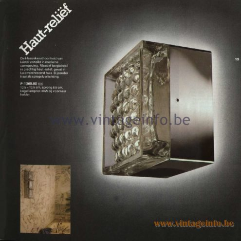 Raak Catalogue 11, 1978 - Raak Haut-Reliëf Wall Lamp C-1369.00