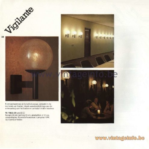 Raak Catalogue 11, 1978 - Raak Vigilante (observer/guard) Wall Lamp W-1852.00