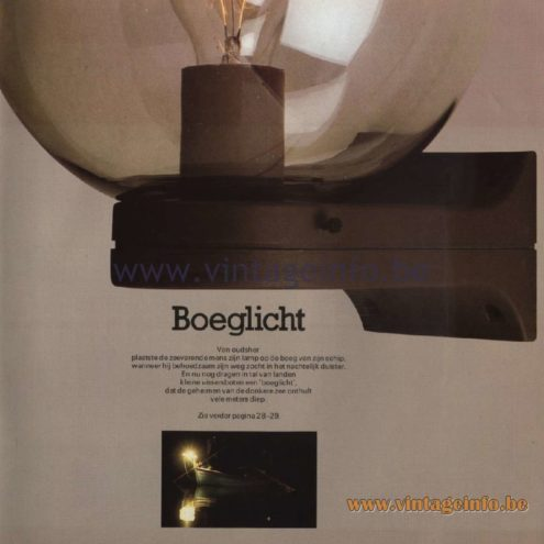 Raak Catalogue 11, 1978 - Raak Boeglicht (Bow light) Wall Lamp