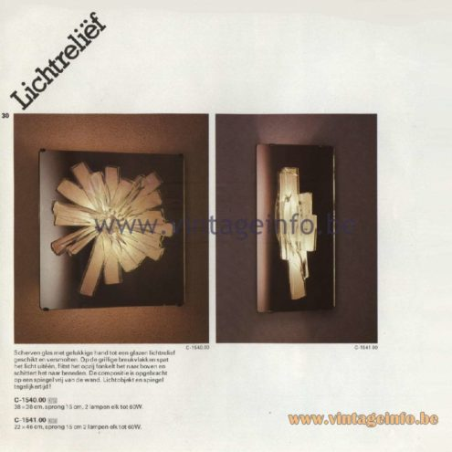 Raak Catalogue 11, 1978 - Raak Lichtreliëf (Light relief) Wall Lamp C-1540.00, C-1541.00