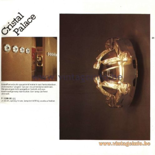 Raak Catalogue 11, 1978 - Raak Cristal Palace Wall Lamp P-1288.00