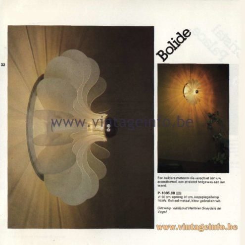 Raak Catalogue 11, 1978 - Raak Bolide Wall Lamp P-1095.00