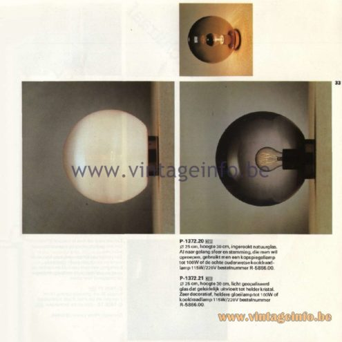 Raak Catalogue 11, 1978 - Raak Wall Lamps P-1372.20, P-1372.21