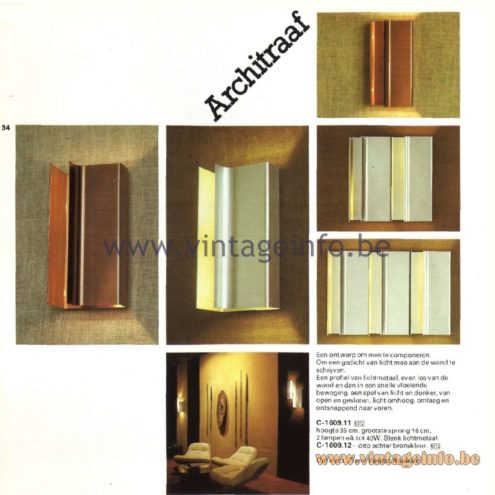 Raak Catalogue 11, 1978 - Raak Architraaf (Architrave) Wall Lamp C-1609.11, C-1609.12