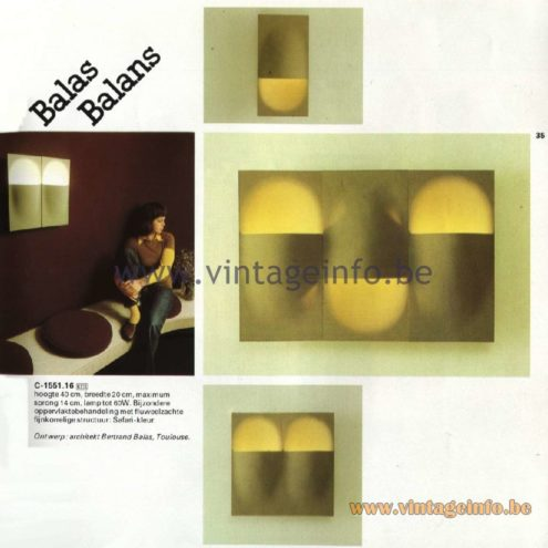 Raak Catalogue 11, 1978 - Raak Balas Balans Wall Lamp C-1551.16 Design: architect Bertrand Balas, Toulouse
