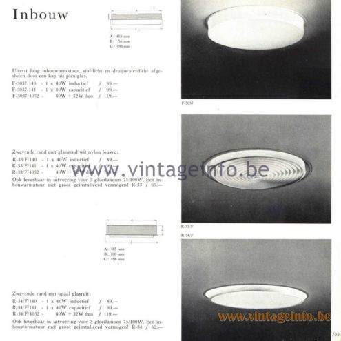 Raak Catalogue 5, 1962 – Raak F-3037, R-33, R-34 Flush Mount & Recessed Luminaire