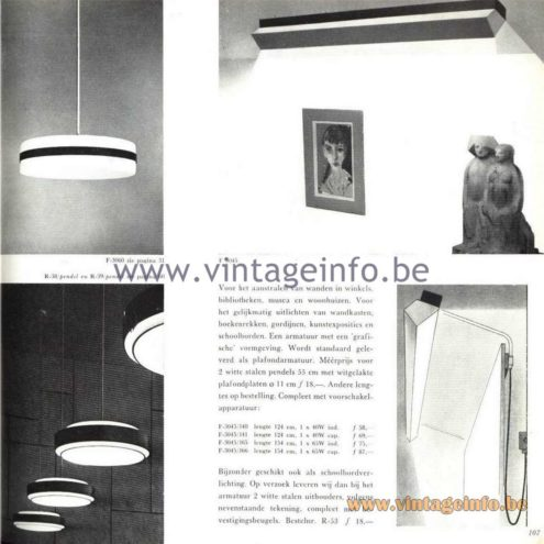 Raak Catalogue 5, 1962 – Raak F-3045 Wall Lamp, F-3060 Pendant Lamp