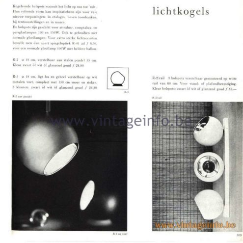 "Raak Catalogue 5, 1962 – Raak spotlights ""Lichtkogels"" (light bullets) R-2, R-3"