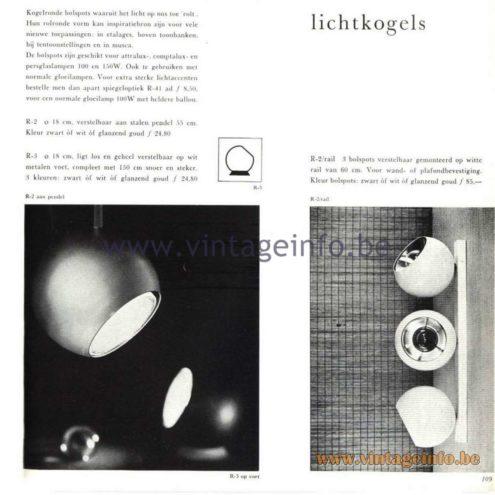 """Raak Catalogue 5, 1962 – Raak spotlights """"Lichtkogels"""" (light bullets) R-2, R-3"""